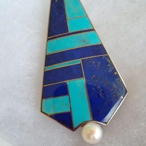 Jewelry - Zuni Turquoise and Lapis pendant